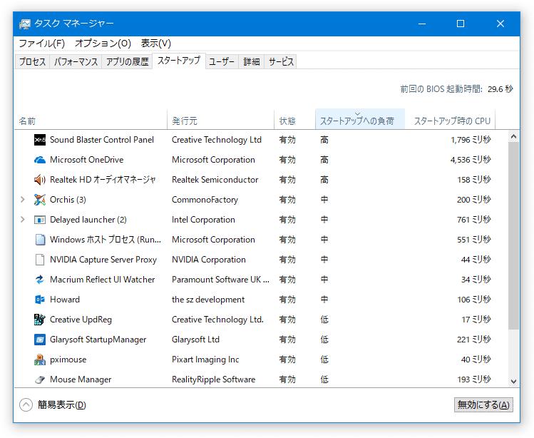 """Windows 10 のタスクマネージャーを使い、"""" Windows の起動に負荷をかけているプログラム """" を探す"""