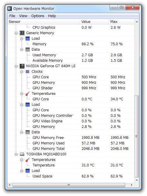 open hardware monitor 使い方
